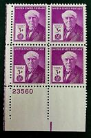 US Stamps, Scott #945 1947 3c Thomas A. Edison plate block. VF/XF M/NH