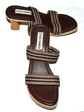 Steve Madden Brown with Striped Elastic Straps Women Chunky Heel Sandals Sz 7 M