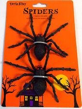 "Hard Plastic Black Spiders Halloween Decor Lot 2 4 x 6"" NWT"