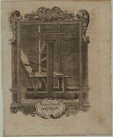 BUCHDRUCK Druckerei seltener Original Kupferstich um 1750 BUCH Bücher drucken