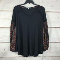 Single Thread Plus Size Waffle Knit Print Sleeve Womens 1X Black Blouse Top New