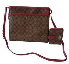 COACH PURSE SIGNATURE FILE BAG HANDBAG WITH  MATCHING WALLET-F34938