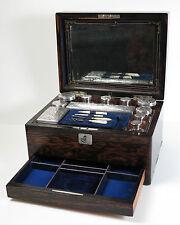 Mappin Bros. Coromandel vanity necessaire dressing box silver topped jars.1875