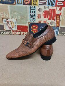 Italian Leather Brown Snake Skin Pattern Shoes EU 40 UK 7 Vincetini Smart Shoes