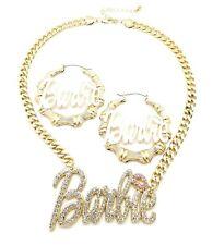 "New Barbie Pendant & Earrings 9mm 18"" Cuban Link Chain Necklace Set"