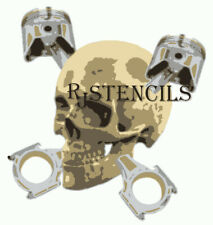 Multilayer step by step airbrush stencil PISTON SKULL