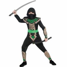 Boys Black Dragon Ninja Japanese Warrior Martial Arts Fancy Dress Costume 6-8