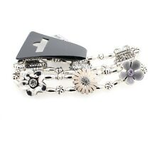 PILGRIM Daisy Flower Bracelet FLOURISH Silver Nude Pink & Grey Swarovski BNWT