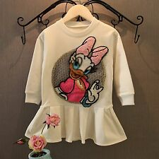 NEW with tag Girl Child Fleece Warm Donald Daisy White long Sweater Tops