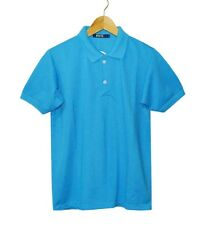 NEW! BOSTON MEN'S CLASSIC PLAIN PIQUE POLO/SPORT SHIRT (AQUA BLUE, SIZE LARGE)
