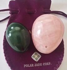 Nephrite Jade and Rose Quartz 2-PCS Set Yoni Eggs, Drilled Large & Medium 2-Size