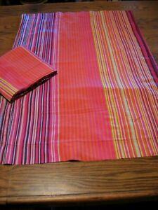 IKEA 'ANDREA SATIN' Pink/Green/Purple Striped Pillow Shams Set - Queen