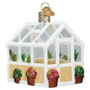 GREENHOUSE OLD WORLD CHRISTMAS GLASS GARDENING PLANT SURVIVAL ORNAMENT NWT 20121