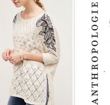 NEW Anthropologie Embroidered Launa Poncho Pullover Sweater Top Size XS/S M/L