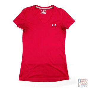 Under Armour Heat Gear Womens XS Short Sleeve V-Neck Polyester Loose Fit Pink