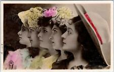 Hand Tinted Real Photo Postcard 5 Pretty Young Ladies W/Hats c1910s