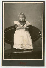 Cabinet Photo-Very Cute Little Girl Standing-Smiling-White Dress-Norway Michigan
