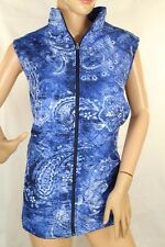 Womens Alia vest Blue paisley print zip front stand up collar Size 16W