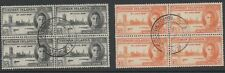 Cayman Islands 1946 Victory fine used set as blocks 4 Stamps