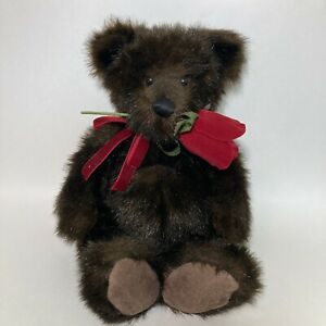 HALLMARK Teddy Bear with Rose and Pocket Dark Brown BeanieExcellent Condition