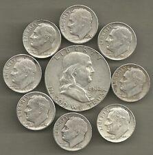 Franklin Half Dollar & Roosevelt Dimes- 90% Silver- Us Coin Lot - 9 Coins #4594