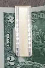 💸14k Yellow Gold & Sterling Silver Diamond Cut Textured Money Clip Vintage
