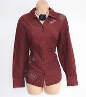 Women's Vintage BONITA Long Sleeve Plum 100% Cotton Corduroy Blouse Shirt Size S