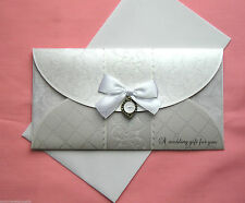 Luxury Hand Crafted Ivory / White Wedding Day Money  Wallet Gift Card