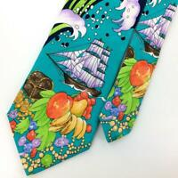 Leonard Tie Turquoise Green Gold Ship Treasure Box Fruit Luxe Silk Ties L4 New