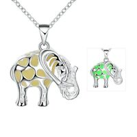 Antique Silver Chain Magnifying Glass Elephant Design Pendant Necklace