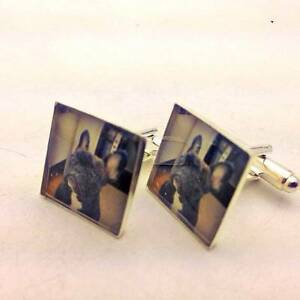 Silver photo cufflinks circle square custom Personalized GROOM gift wedding mens
