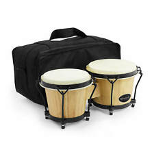 """More details for world rhythm 6"""" & 7"""" beginners oak bongo drums – natural finish bongos with bag"""