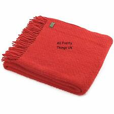 TWEEDMILL TEXTILES 100% New Wool Sofa Bed Throw Blanket - WAFER RED