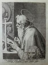 ETCHING ACQUAFORTE BULINO Egidio SADELER S.GIROLAMO SACERDOT  1500 reliqua relic