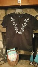 Women's Blouse Size M Black with White Embroidered Flowers Pretty