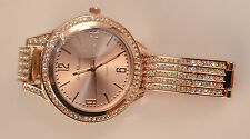 fashion watches for women  with rose face and rose color band with stones