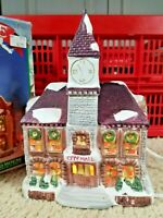 "Christmas Village Porcelain Lighted City Hall 8.5"" Dickensville NOMA 1991"