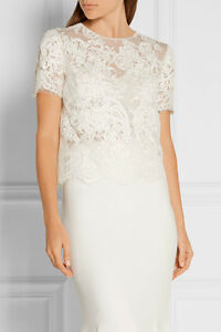NEW Marchesa Embellished Embroidered Pearls Lace Tulle Top White Blouse 4