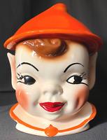 """HTF Rare Vintage Orange Pixie Elf Head Large 13"""" Cookie Jar #206 on Neck - GREAT"""