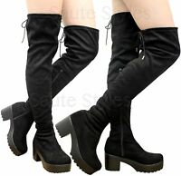 Ladies Women Over The Knee Boots Thigh High Cleated Platform Mid Heel Shoes Size