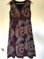 Maine Sleeveless Summer Dress Size 10 Faux Wrap Embroidery Multi Ethnic Boho