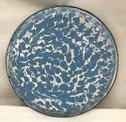 Vintage Light Blue and White Swirl Graniteware Pie Pan Plate Old Original