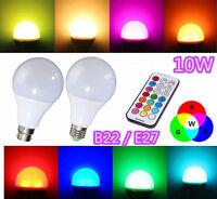 10W RGBW LED Bulb Light Remote Control Cool White Multiple Colour E27 ES B22 BC