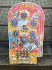 Vtg Wolverine Toy Co Metal Pinball Machine Military Attack Action Marble Game