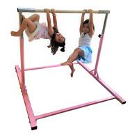5Ft Athletic Bar Teen Adj 300 Lb Capacity Kids Gymnastics Training Kip Bars Pink