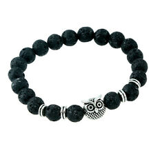 Popular Mens Natural Stone Lava Silver Owl Beaded Bracelet Cuff Bangle Bracelets
