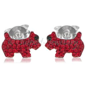 Nariz studs//earrings Para Niños Niñas De Plata Esterlina Perro Blanco Con Rojo Oído