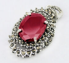 Marcasite Faceted Red Garnet &925 Sterling Silver Pendant Jewelry 30*20mm