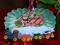 Tart Tin Diorama Christmas Ornament Handmade w Vintage & Supply Items TRAIN ~