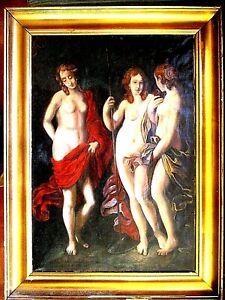 URTEIL DES PARIS ca.1850.Ölbild auf Leinwand,3 Grazien,mit Rahmen, 57x77cm SUPER